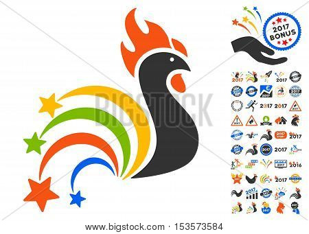 Festival Rooster pictograph with bonus 2017 new year graphic icons. Vector illustration style is flat iconic symbols, modern colors.