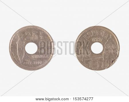 Spanish pesetas coin (pre-Euro currency) over white background