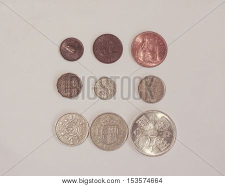 Pre-decimal GBP British Pounds coins (currency of United Kingdom) in use before the Decimal -Day (15 February 1971) - farthing (quarter of 1d) half-penny penny three-pence six-pence shilling (1s) two shillings (2s) half-crown (2/6) coronation crown (5/-)
