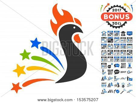 Salute Rooster pictograph with bonus 2017 new year graphic icons. Vector illustration style is flat iconic symbols, modern colors.