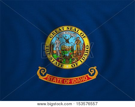 Flag of the US state of Idaho. American patriotic element. USA banner. United States of America symbol. Idahoan official flag wavy with detailed fabric texture illustration. Accurate size colors