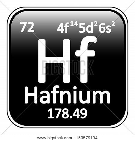 Periodic table element hafnium icon on white background. Vector illustration.