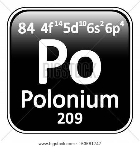 Periodic table element polonium icon on white background. Vector illustration.