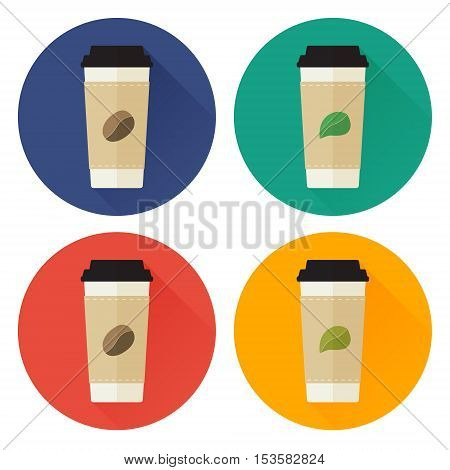 Take-away coffee cup and tea cup flat icon set. A plastic cup of coffee and a plastic cup of tea flat style vector illustration.