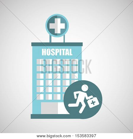 paramedic first aid hospital building icon vector illustration