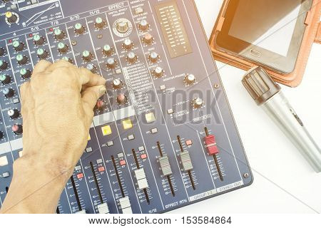 Recording studio equipment control on a white background.