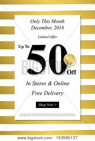 Vector Limited Offer Up To 50 percent off banner with gold stripes for online stores websites retail posters social media ads. Creative banner layout for m-commerce mobile promotions advertising.