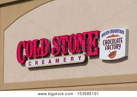 Cold Stone Creamery And Rocky Mountain Chocolate Factory Sign And Logo