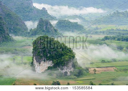 Landscpae view of Pu langka (lang ka mountain) with mist in morning time, popular natural tourist attraction in Phayao province northern Thailand.