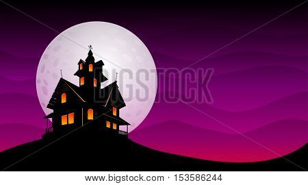 Haunted old house with the moon in violet sky background