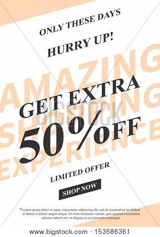 Vector promotional Get Extra 50 percent off banner for online stores websites retail posters social media ads. Creative banner layout for m-commerce coupons advertising.