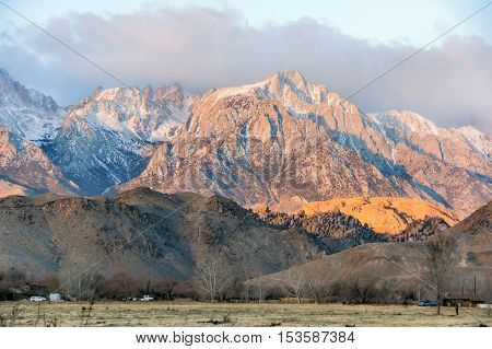 Sunrise on Mt. Whitney and the Sierra Nevada Mountains