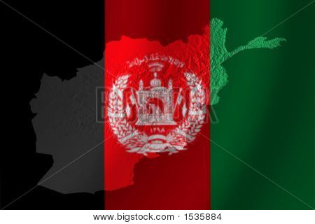 Afghan Flag With Topography