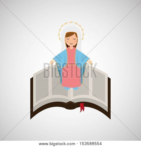 blessed virgin mary with bible design vector illustration