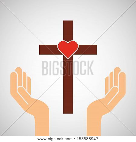 hands with cross and sacred heart icon vector illustration