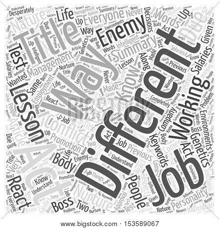 Working For The Enemy A Lesson In Conflict Management word cloud concept