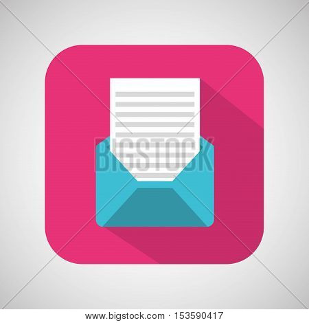 cartoon envelope email mail with shadow and pink background vector illustration