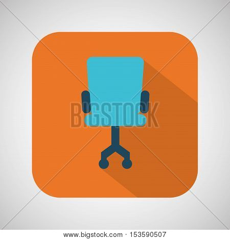 chair blue wheel blue with orange background vector illustration