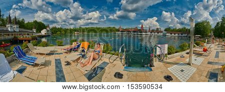 HEVIZ, HUNGARY - 15 August 2016: High-resolution Panorama Heviz Themal Water Lake Resort. The sign says