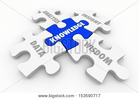 Knowledge Puzzle Pieces Data Analysis Insight Wisdom 3d Illustration
