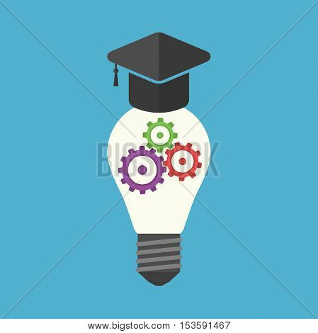 University hat na light bulb with colorful gears inside isolated on blue background. Innovation idea and insight concept. Flat design. Vector illustration. EPS 8 no transparency