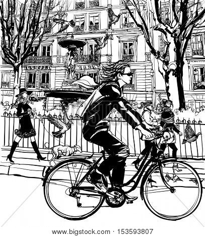 Riding bicycle in Paris - vector illustration