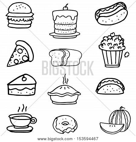 Doodle of junkfood vector art collection stock