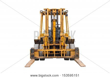 Yellow industrial fork lifter for cargo transport isolated on white