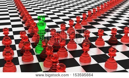 Chess board with a lot of red glass pawns attacking the green king botnet cybersecurity concept 3D illustration