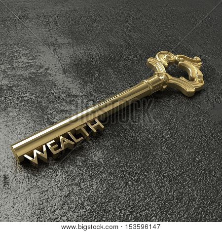 Golden vintage key with the word wealth on a rough black stone table 3D illustration