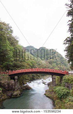 Shinkyo Bridge in autumn Nikko, Tochigi, Japan