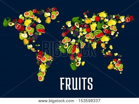 Map of world continents design of fruits. Vector elements of exotic and tropical fresh fruits apple, grape, pineapple, orange, mango. Vegetarian and healthy raw nutrition design