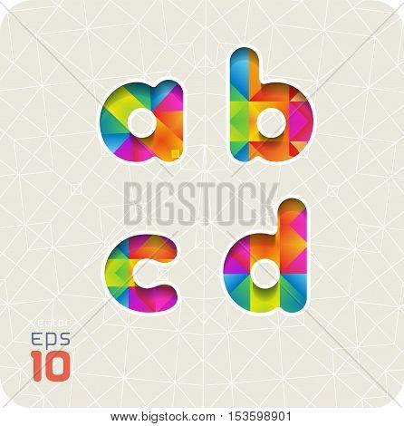 Joyful 3d set of cut paper vector alphabet. The lowercase letters a,b,c,d. Multicolored gradient. Eps 10.