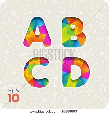 Joyful 3d set of cut paper vector alphabet. The capital letters A, B, C, D. Multicolored gradient. Eps 10