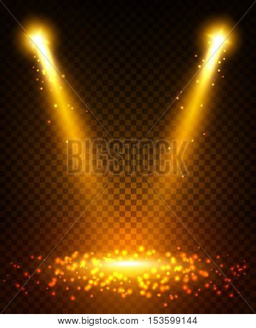 Gold spot light beams projection on scene stage. Sparkling disco light flashes with reflection on ground. Shining golden glitter sparkles from lightning lamps. Light effect on transparent background