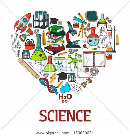 Heart shape emblem with science vector icons. Scientific conceptual decoration design element with chemistry experiment test, research and laboratory equipment color symbols poster