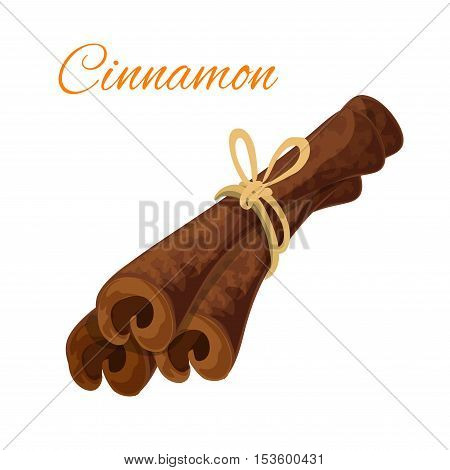 Cinnamon bark sticks spice icon. Vector isolated curved cinnamon sticks tied with thread. Spicy emblem for bakery, pastry, patisserie, cafeteria, cafe, spices store and culinary design element