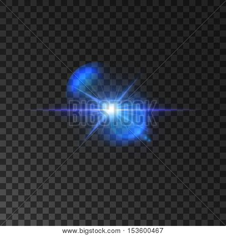 Flickering blue light flash of shining star. Twinkling star with bright radiance and lens flare effect on transparent background. Vector luminous beams shine