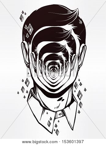 Hand drawn portrait of a weird man with strange face. Graphic drawing in Noir retro style depicting mental disorder. Character design, surrealism, tattoo art. Isolated vector illustration.