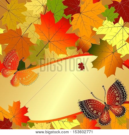 Autumn decorative floral frame with colorful translucent maple leaves and butterflies and gold label vector eps10