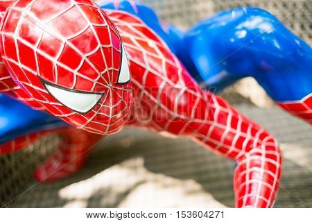 Chiang Mai Thailand - Oct 13 : Close up  Spiderman model in The Garden on October 13 2016 in Chiang Mai Thailand