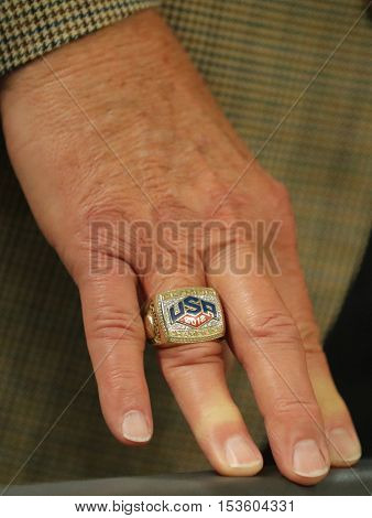RIO DE JANEIRO, BRAZIL - AUGUST 10, 2016: Jerry Colangelo director of USA Basketball wears USA 2012 Olympic Champions ring Rio 2016 Olympic Games