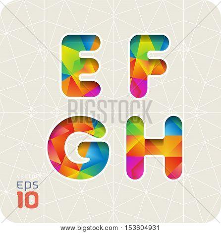 Joyful 3d set of cut paper vector alphabet. The capital letters E, F, G, H. Multicolored gradient alphabet . Eps 10.