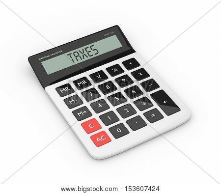 3D Rendering Of Calculator With Taxes Refund Text