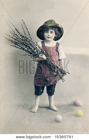 Very old Easter greeting, motive of cute boy with pussy willow twigs