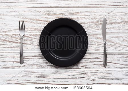 Empty Plate Fork Knife Silverware White Wooden Table Background