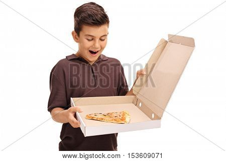 Delighted little boy looking at a pizza box with a single slice isolated on white background