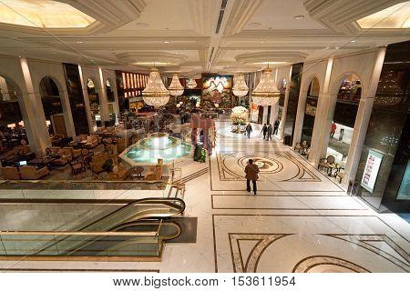 HONG KONG - 26 JANUARY, 2016: Kowloon Shangri-La Hotel lobby. Kowloon Shangri-La is a five-star hotel of the Hong Kong-based Shangri-La Hotels and Resorts group.