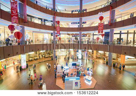 DUBAI, UAE - 15 OCTOBER, 2014: inside the Dubai Mall. The Dubai Mall is a shopping mall in Dubai, United Arab Emirates.