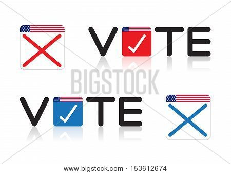 The concept of voting the word Vote on Blue and Red on white background